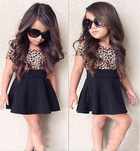 2017 Summer Baby Girls Dress Kid Summer Clothes Set Leopard Short Sleeve Mini Skirt 1-6T