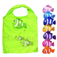 Free shipping Hot Fashion Little Fish Reusable Folding Shopping Bag Travel Grocery Bags Tote