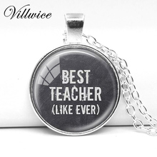 Fashion Art Picture Pendant Best Teacher Necklace Silver Plated Chain Teacher Jewelry Gift(China)