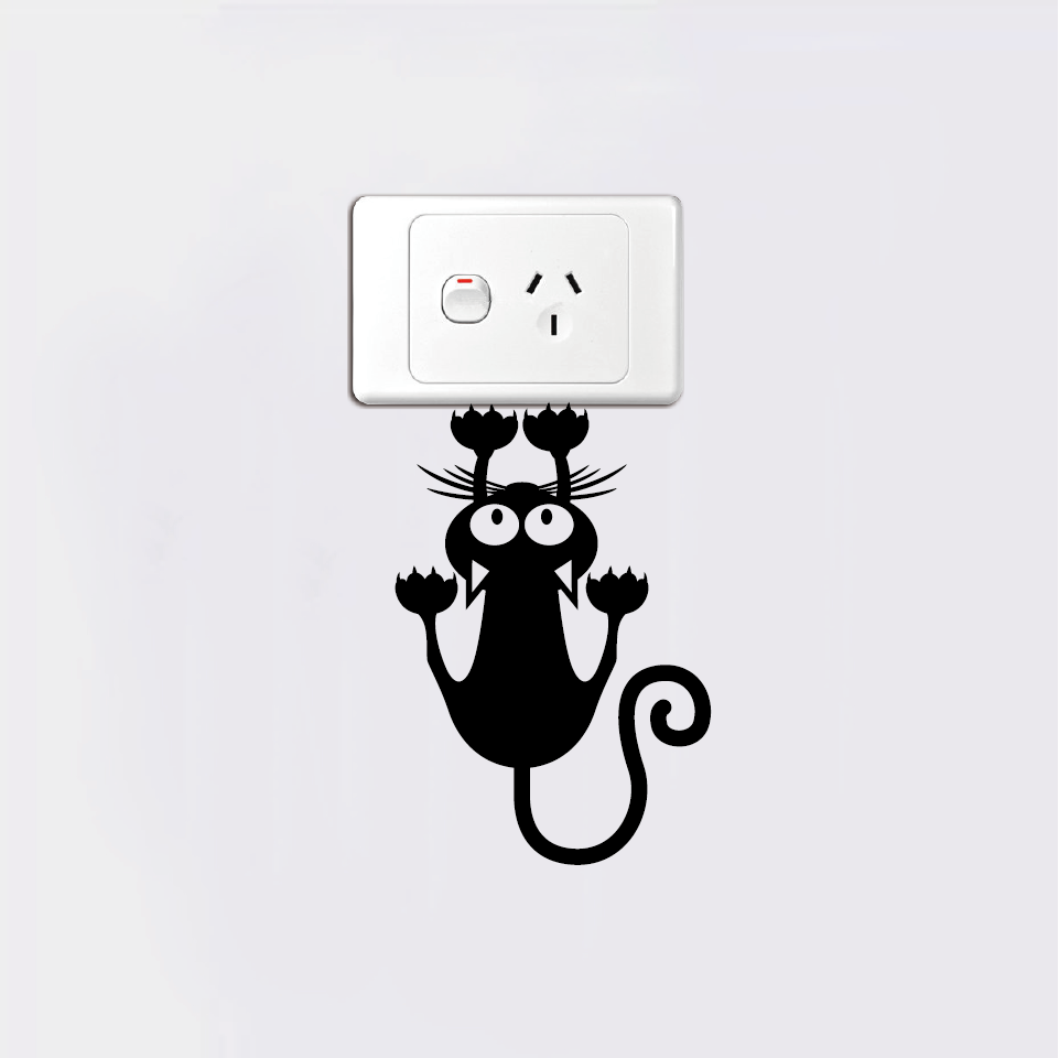 Creative Cat Hanging On Light Switch Sticker Wall Decal Creative Cat Hanging On Light Switch Sticker Wall Decal HTB1IZOWSpXXXXaoXVXXq6xXFXXX6