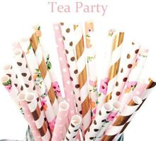 100pcs mixed STRAWS Flower,Light Pink dot,foi Gold strpes Paper Straw,Party Supplies,Tea Party,Garden Party,Birthday,Baby Shower(China)