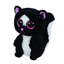 "Pyoopeo Original 6"" 18cm TY Beanie Boos Flora Black/White Skunk Plush Stuffed Animal Collectible Big Eyes Doll Toy"