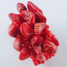 Free shipping Red Coral Chip Beads Stretch Finger Ring US 6~10 Charm Jewelry PJ3031(China)