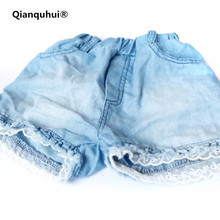 Qianquhui 2017 New Fashion Kids Girls Children's Shorts Jeans Lace Pocket Demin Shorts For Summer Short Pants 100% Cotton