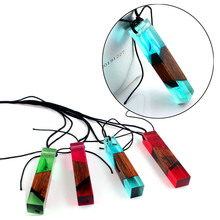 Fashion Handmade Vintage Resin Pendants Necklaces for Women Rope Chain Wood Necklace Chocker Collier Cylindrical Charm Jewelry(China)