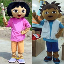 2016 Hot Sale Explorer Boy Diego Girl Dora Cartoon Outfit Carnival Mascot Costume Fancy Dress School Mascot College Costume