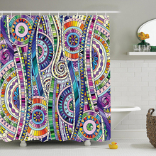 Mosaic Style Colorful Illustration Flower Pattern Ornamental Doodle Native Art Polyester Fabric Bathroom Shower Curtain