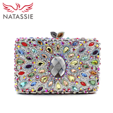NATASSIE Lady Charming Evening Bag With Chain Women Wedding Clutch Purses Box Diamonds Clutch Bags L2058