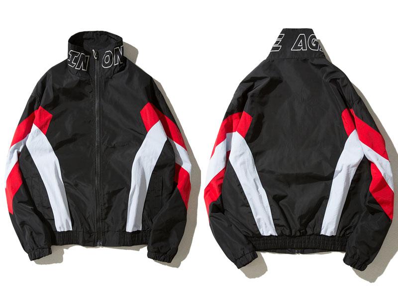 Vintage Color Block Zip Up Jackets