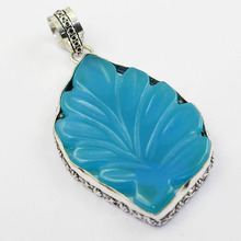 Carved Chalcedony Pendant Silver Overlay over Copper 72mm, P1453(China)