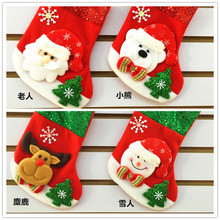 (4 pieces/lot) Cute Christmas Decoration Supplies Christmas Stocking 4 Style Reindeer Snowman Santa Claus Ornament Wholesale