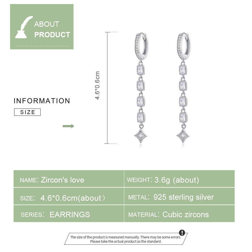 bamoer Geometric Long Dangle Earrings for Women Wedding Engagement Jewelry 925 Sterling Silver Female Luxury Bijoux SCE583