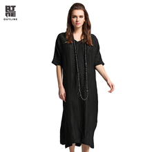 Outline Women Summer Long Dress Fashion Black Half Sleeve V-neck Split Hem Vestidos Plus Size Linen Silk Vintage Dress L172Y025