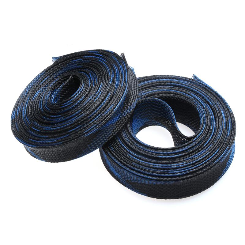 Gaine en fil PET 25mm Câble Enveloppe Tressée extensible long 1 mètre noir