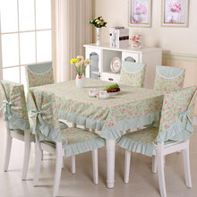 Pastoral Style Table Cover Set 6pcs Chair Cover +6pcs Chair Mat+One Table Cloth 4 Sizes Tablecloth for Home decor toalha de mesa(China)