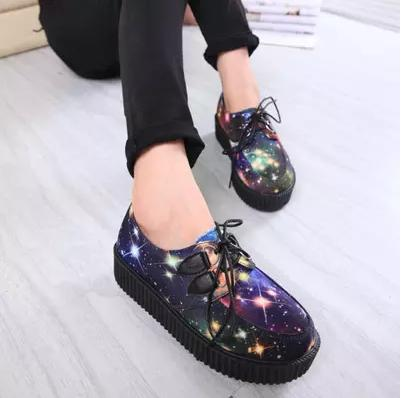 Harajuku Womens Platform Shoes 2015 Female Leopard Punk Gothic Creepers Retro Florals Lace-up Flats Mujer Zapatos<br><br>Aliexpress