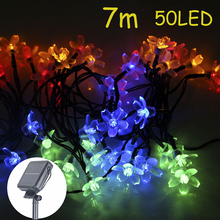 50 LEDs 7M Solar Lamps String Fairy Lights Sakura Flower Christmas Lights Garlands Solar Lights For Outdoor Garden Decoration(China)