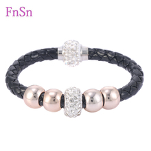 Hot Bracelets For Women Fill Crystal Stones Leather Strand Bracelet With Magnetic Clasp Wristband Rope Braided Bracelets Jewelry