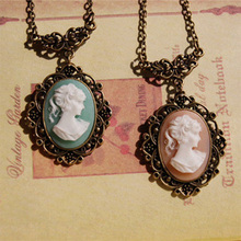Victorian Lady Cameo Pendant Necklace Mother's Day Gifts for Mom Handmade Vintage Jewelry XL064
