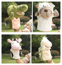 Story toy 1pc 25cm cartoon dog crocodile milk cow tortoise hand puppets plush sleeping game perform stuffed baby infant gift