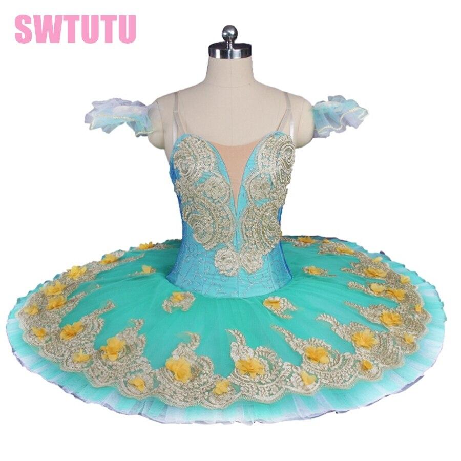 Free shipping Green Flower Fairy Women Professional Pancake Tutu Girls Classical Platter Tutu Dress BT9147C