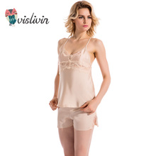 Vislivin new arrival 2017 summer sexy women nightwear pijamas sets real silk sleepwear sets women's lace camisole sets(China)