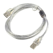 1.2M USB 2.0 Male to Female Extension Connector Adapter Cable Cord Transparent Universal Wire Data Cord Cable