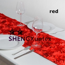 Good Looking Satin Rosette Table Runner For Decoration - Red Color(China)