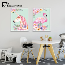 Flower Unicorn Flamingo Poster and Print Watercolor Animal Painting Wall Art Decorative Picture Nordic Style Kids Decoration(China)