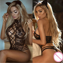 Buy Open Crotch Cosplay Sexy Dress Erotic Lingerie Women Sex Porno Babydoll Underwear Transparent Lace Costumes Nuisette Sexy