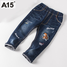 A15 Children Jeans Kids Pants Boy Jeans Pants Kids Trousers Navy Blue Spring Autumn 2017 New Baby Girl Jeans Trousers 2T 3 4 5 6(China)