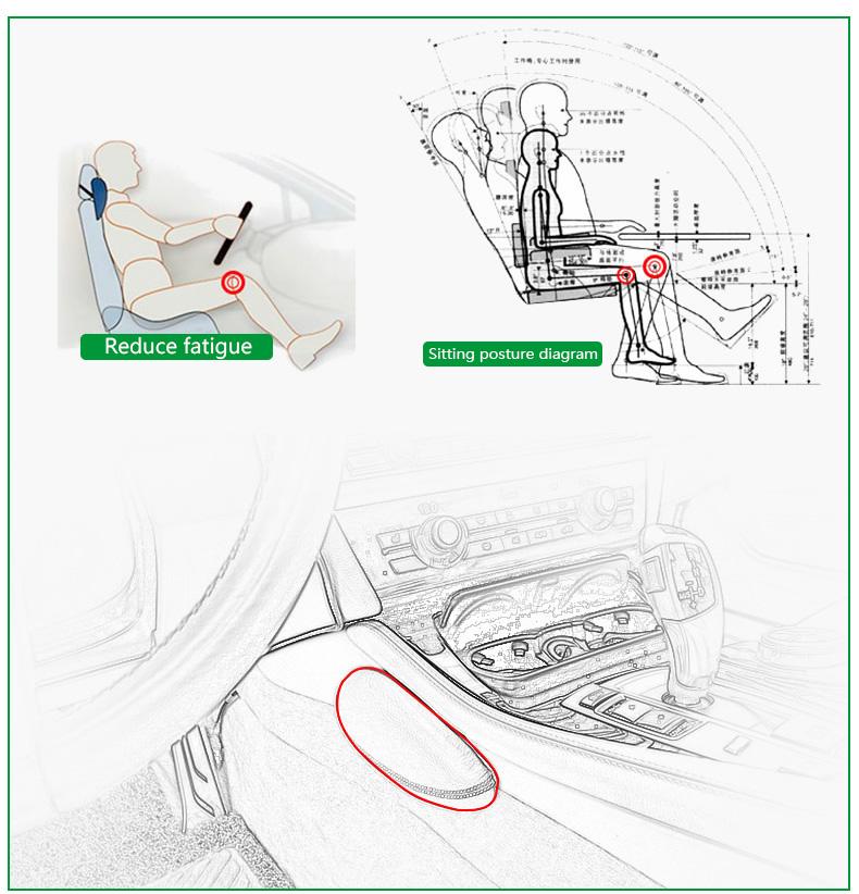 Leather Leg Cushion Knee Pad Thigh Support Pillow Interior Car Accessories for BMW E46 E39 E60 E90 E36 F30 F10 X5 Z4 7 (3)