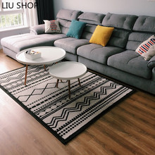LIU Nordic carpet modern geometric design living room RUG sofa tea table bedroom stripe black and white rectangular parlor pad(China)