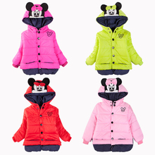 CNJiaYun Minnie Girls Jacket 1-5 Years old Children Winter Lovely Keeping Warm Girls Coats Cotton Hooded Outwear Kids Clothing(China)