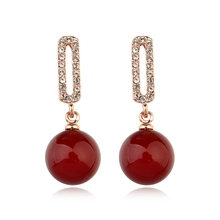 MIGGA Fashion Red Simulated Pearl Earrings Gold Color Beaded Pendant Stud Earrings for Women Girls