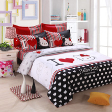 2017 new hello kitty bed linen double quilt bed linen, quilt cover, pillowcase, 4 pcs, bed linen