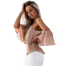 Buy Cold Shoulder Sexy Women Blouse Shirts Pink Chiffon Halter Ruffles Thin White Tops Evening Club Shirt blusas mujer de moda 2017
