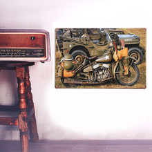 European Retro Military motorcycles sign board Wall stickers metal iron crafts picture Furnishing articles painting draw house