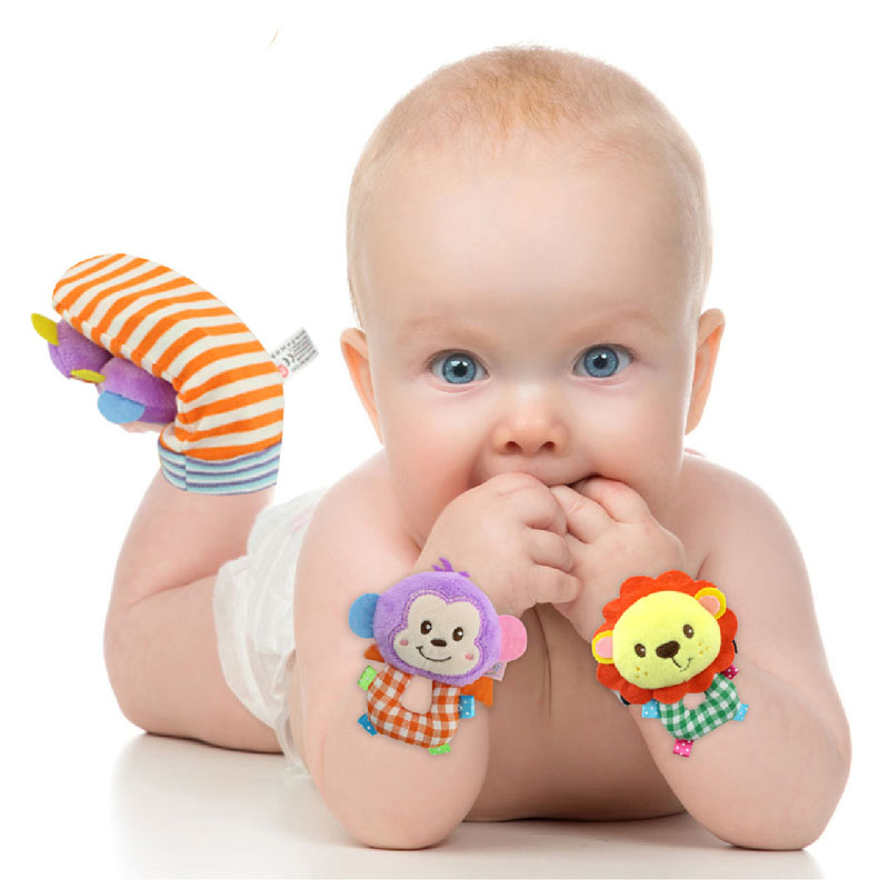 Baby Socks Foot Rattles Toy set Animal Baby Hand W...