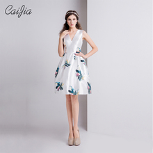 Caijia 2017 White Printed Natural Deep V-Neck Sleeveless Cocktail Dresses Fresh Ball Gown Short Prom Dress With Invisible Pocket(China)