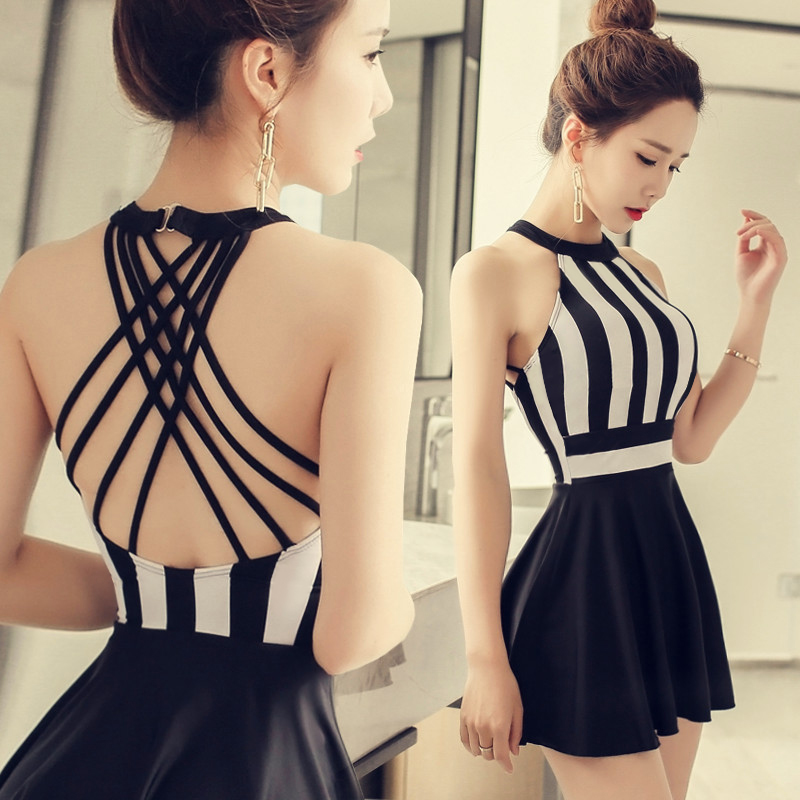 NIUMO One-piece Swimsuit Skirt Style Small Chest Gather Together Swimsuit Woman Large Size Sexy Hot Spring Swimsuits<br>