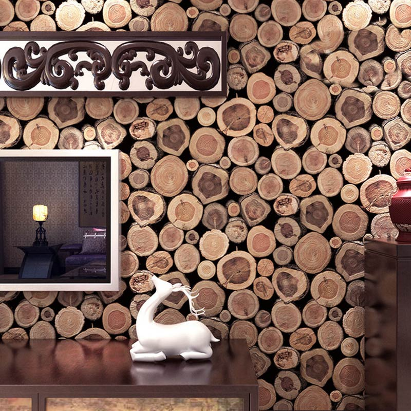 Super Thick 3D Wood Log Texture Embossed PVC Waterproof Vinyl Wallpaper Wall Covering Home Decor Living Room Wallpaper Roll Size<br>