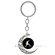 Casual sports elegant Fencing keychain popular Kendo sports events team jewelry moon pendant key chains fencing lover gifts T380
