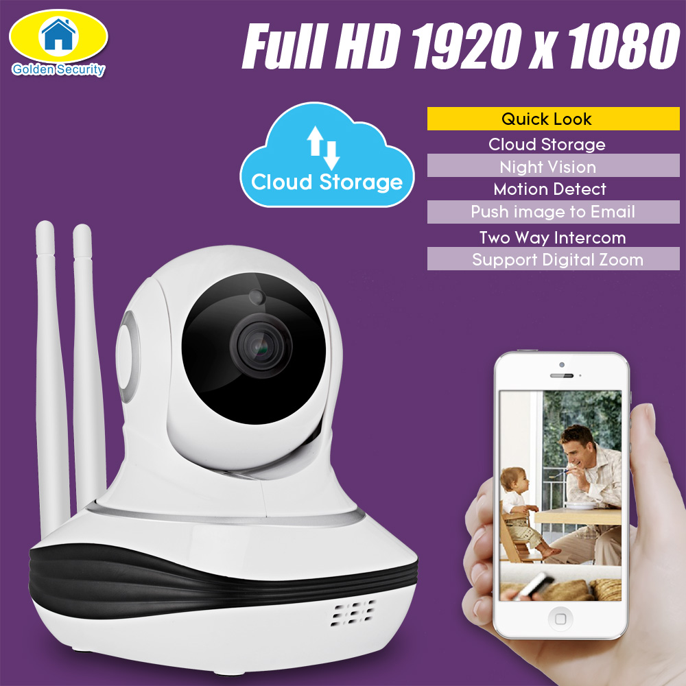 Golden Security Full HD 1080P IP Camera Cloud Storage Wireless Home Security Surveillance Camera WiFi CCTV Camera Baby Monitor<br>