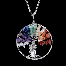 Wisdom Tree Of Life Long Necklace 7 Chakra Stone Natural Stone Imitation Pearl Necklaces Owl Necklace Women Christmas Gift(China)