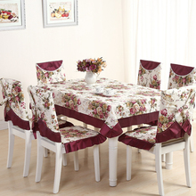 13 Pieces/set Embroidery Table Cloth Set Vintage Tablecloth For Wedding Hotel Decor Square Table Linen Dining Table Chair Cover(China)