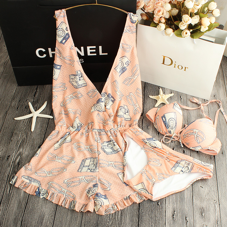 STAR MENG MS bikini thin steel holder swimsuit sexy swimsuit conservative spa gather three piece swimsuit<br><br>Aliexpress