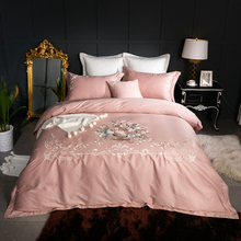 4/7Pcs Luxury Egyptian cotton pink purple white Bedding set queen king size oriental embroidery duvet cover bed linen sheet set(China)