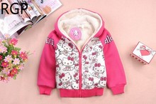 New 2017 Cartoon Hello Kitty Hoodies Thick Hooded Coats Kids Long Sleeve Outerwear Girls Winter Sweatshirts Children Clothing