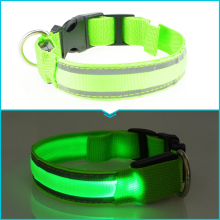 Dogstory 7 Colors Fashion Reflective LED Nylon Pet Dog Collar Striped Glow Dog Harness Pet Product Night Safe Cat Collars